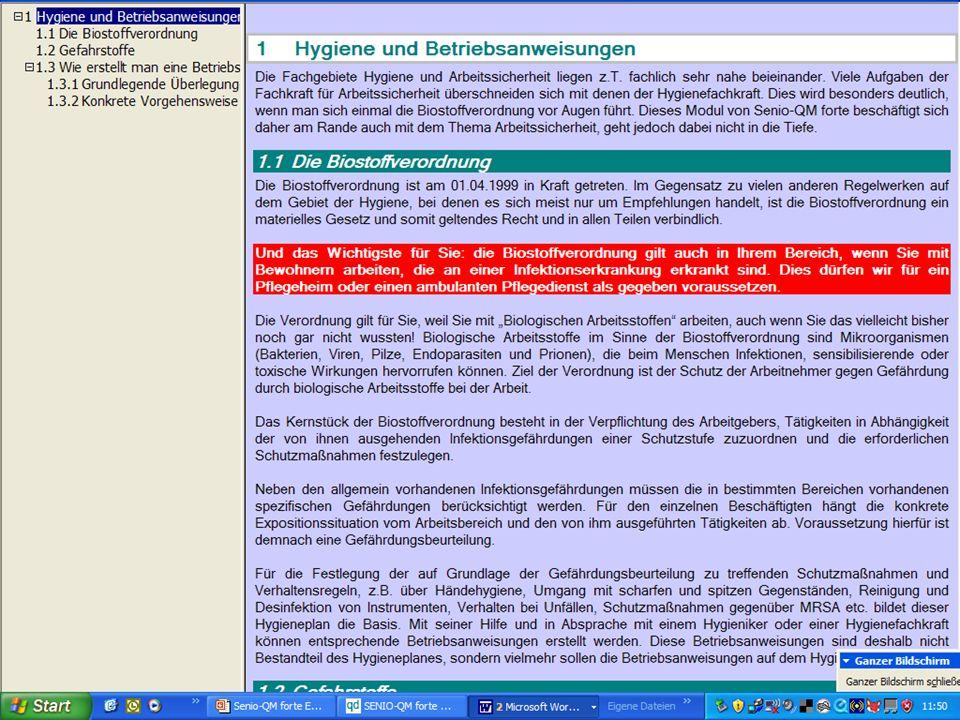 www.hygieneplan.de 43 Einführung in die CD-ROM Senio-QM forte