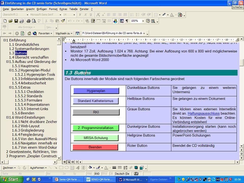 www.hygieneplan.de 18 Einführung in die CD-ROM Senio-QM forte