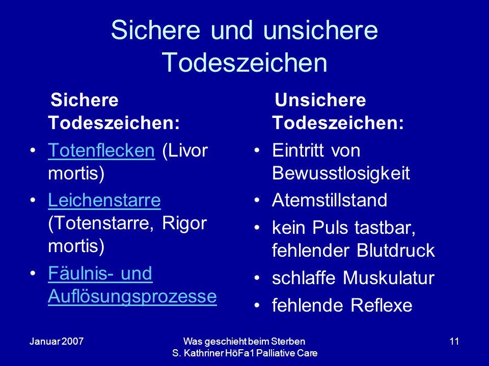 Januar 2007Was geschieht beim Sterben S. Kathriner HöFa1 Palliative Care 11 Sichere und unsichere Todeszeichen Sichere Todeszeichen: Totenflecken (Liv