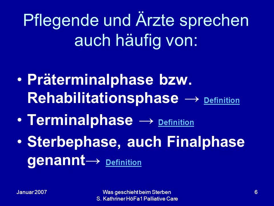 Januar 2007Was geschieht beim Sterben S. Kathriner HöFa1 Palliative Care 6 Pflegende und Ärzte sprechen auch häufig von: Präterminalphase bzw. Rehabil