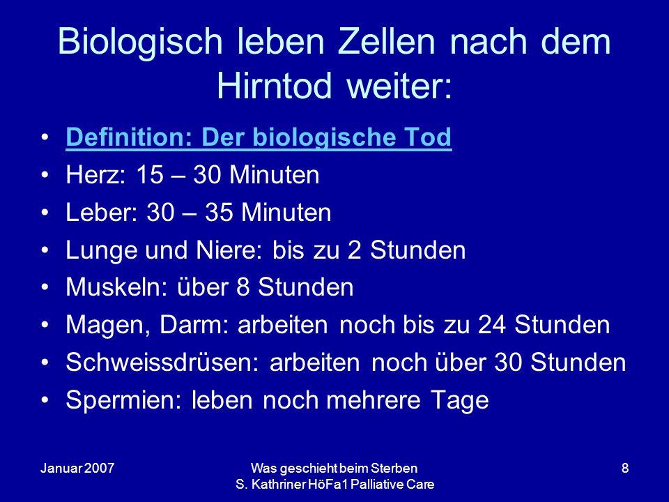 Januar 2007Was geschieht beim Sterben S. Kathriner HöFa1 Palliative Care 8 Biologisch leben Zellen nach dem Hirntod weiter: Definition: Der biologisch