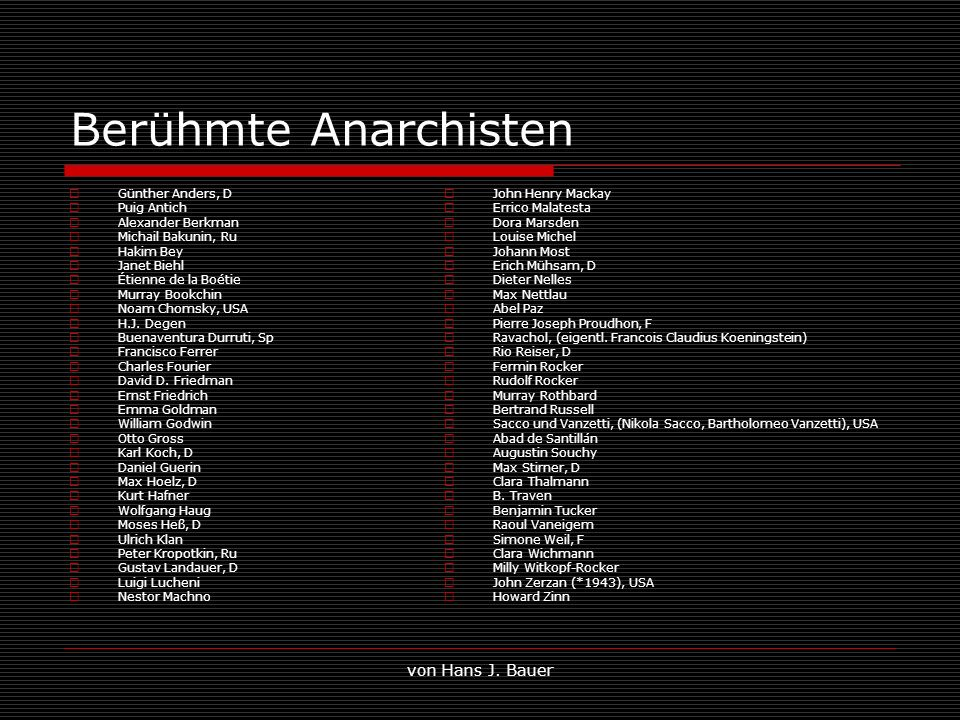 von Hans J. Bauer Berühmte Anarchisten Günther Anders, D Puig Antich Alexander Berkman Michail Bakunin, Ru Hakim Bey Janet Biehl Étienne de la Boétie