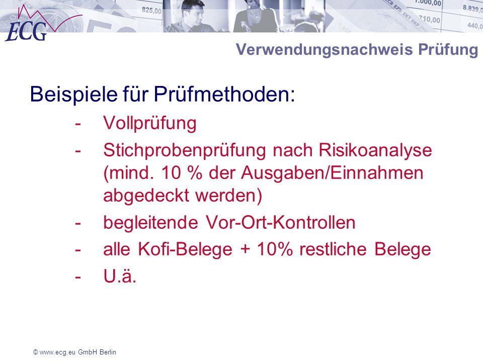 © www.ecg.eu GmbH Berlin Verwendungsnachweis Prüfung Beispiele für Prüfmethoden: -Vollprüfung -Stichprobenprüfung nach Risikoanalyse (mind. 10 % der A