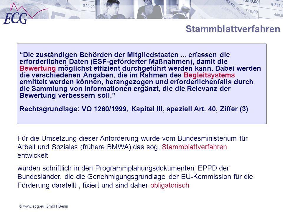 © www.ecg.eu GmbH Berlin Stammblattverfahren Die zuständigen Behörden der Mitgliedstaaten... erfassen die erforderlichen Daten (ESF-geförderter Maßnah