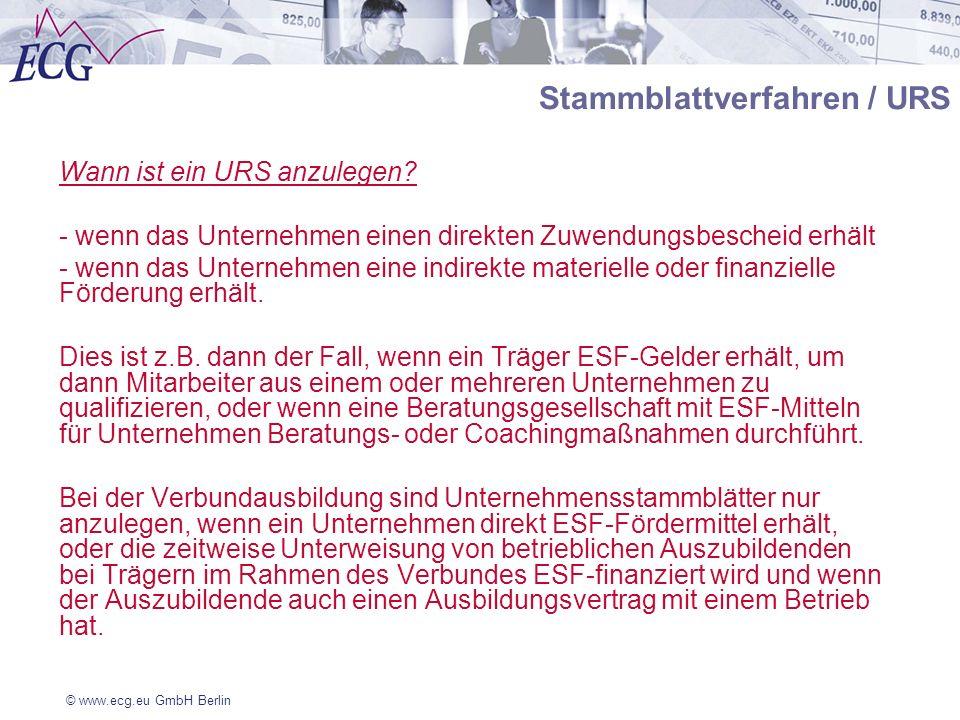 © www.ecg.eu GmbH Berlin Stammblattverfahren / URS Wann ist ein URS anzulegen? - wenn das Unternehmen einen direkten Zuwendungsbescheid erhält - wenn