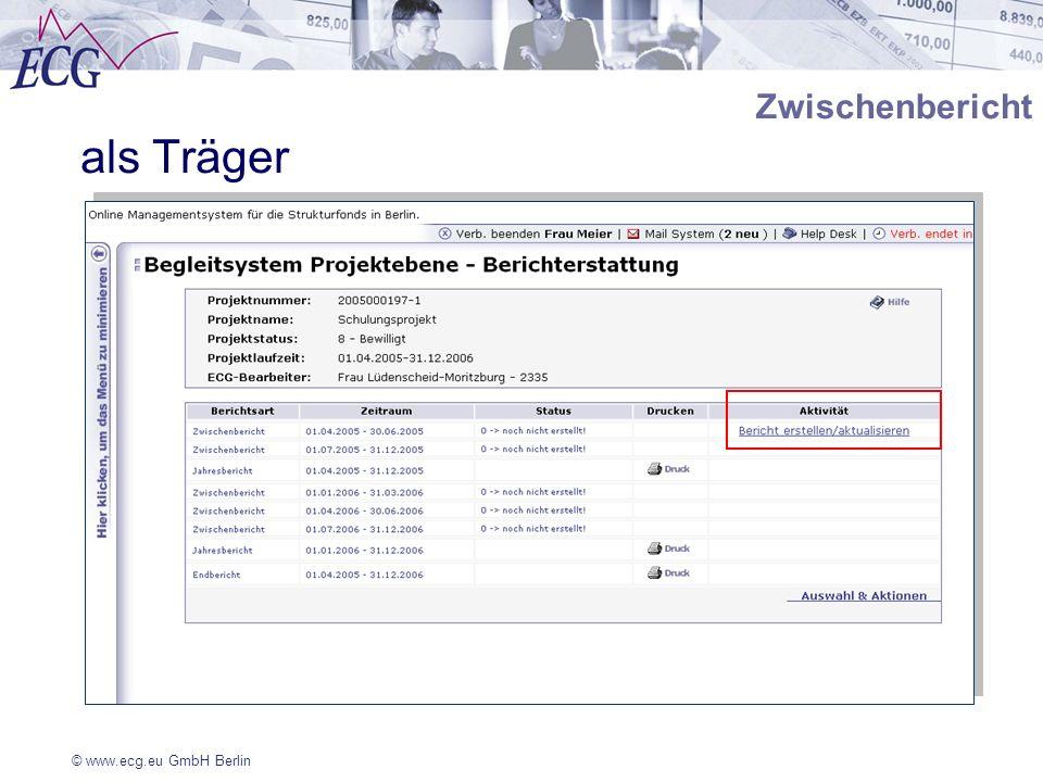 © www.ecg.eu GmbH Berlin Zwischenbericht als Träger