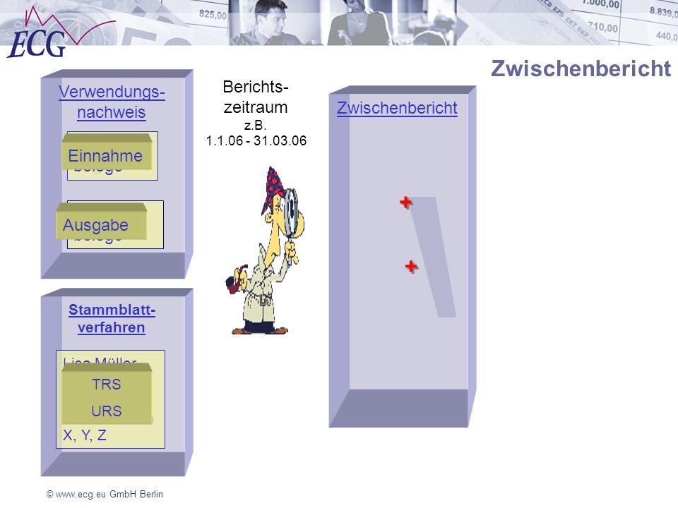 © www.ecg.eu GmbH Berlin Verwendungs- nachweis Ausgabe- belege Berichts- zeitraum z.B. 1.1.06 - 31.03.06 Einnahme belege Stammblatt- verfahren Zwische