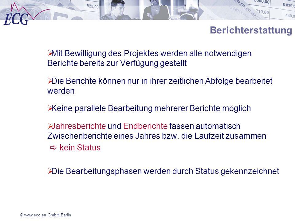 © www.ecg.eu GmbH Berlin Berichterstattung Mit Bewilligung des Projektes werden alle notwendigen Berichte bereits zur Verfügung gestellt Die Berichte
