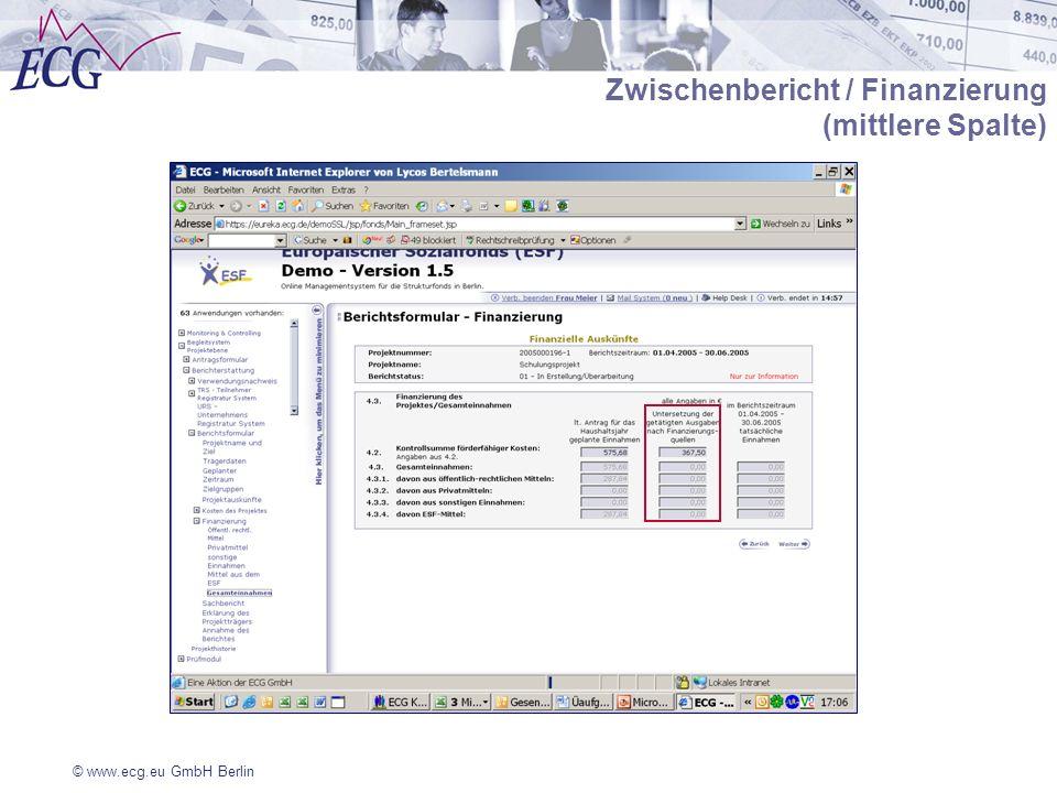 © www.ecg.eu GmbH Berlin Zwischenbericht / Finanzierung (mittlere Spalte)