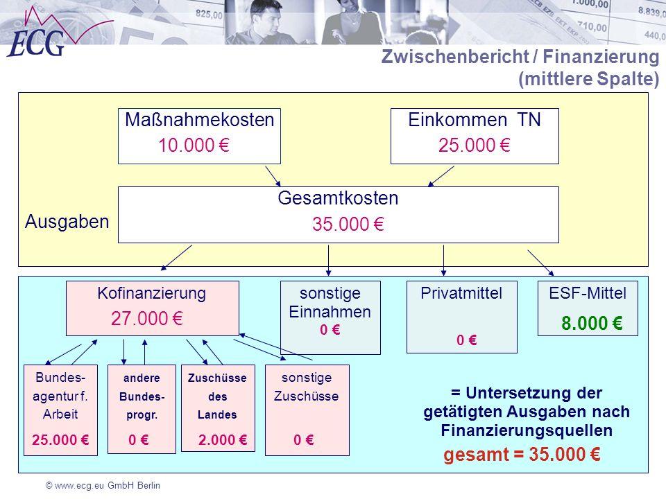 © www.ecg.eu GmbH Berlin Finanzierung Ausgaben Zwischenbericht / Finanzierung (mittlere Spalte) MaßnahmekostenEinkommen TN Gesamtkosten Kofinanzierung