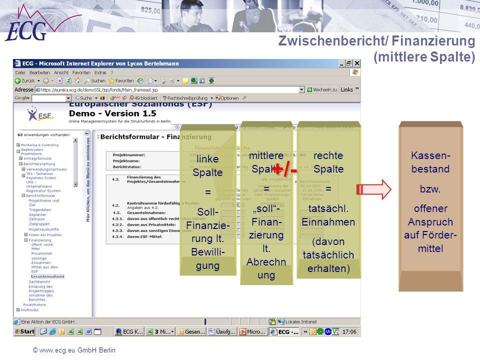 © www.ecg.eu GmbH Berlin Zwischenbericht/ Finanzierung (mittlere Spalte) linke Spalte = Soll- Finanzie- rung lt. Bewilli- gung mittlere Spalte = soll-
