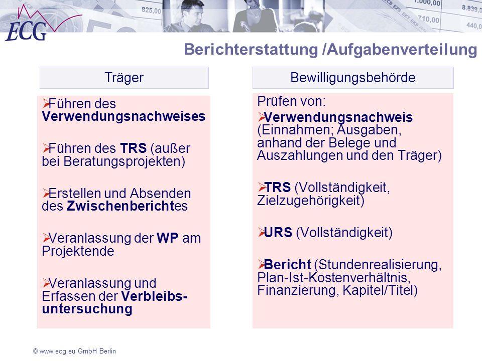 © www.ecg.eu GmbH Berlin Führen des Verwendungsnachweises Führen des TRS (außer bei Beratungsprojekten) Erstellen und Absenden des Zwischenberichtes V