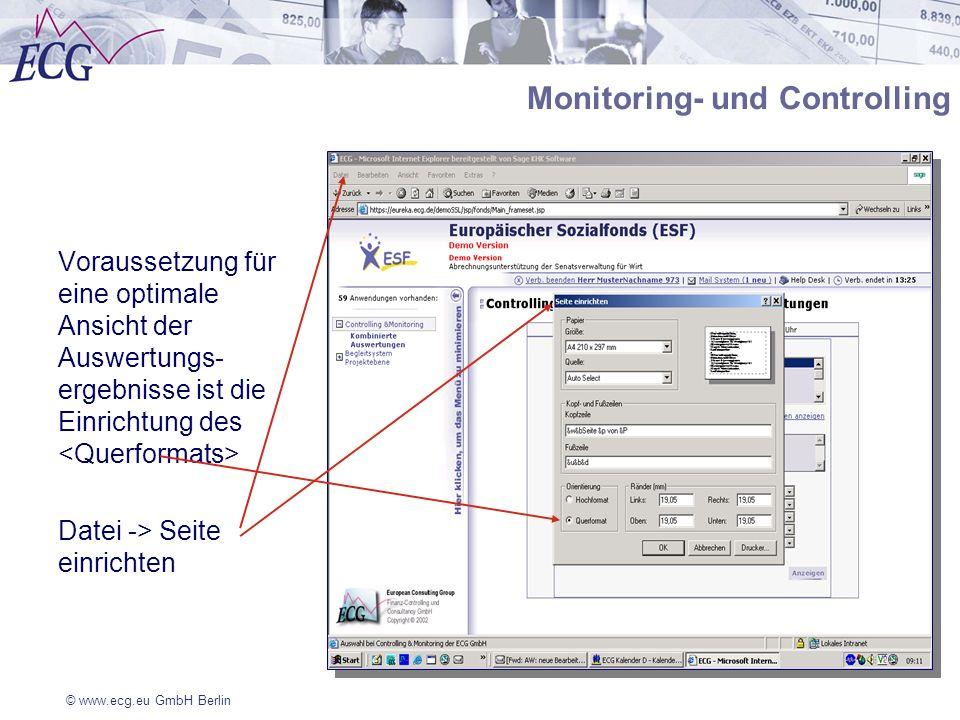 © www.ecg.eu GmbH Berlin Voraussetzung für eine optimale Ansicht der Auswertungs- ergebnisse ist die Einrichtung des Datei -> Seite einrichten Monitor