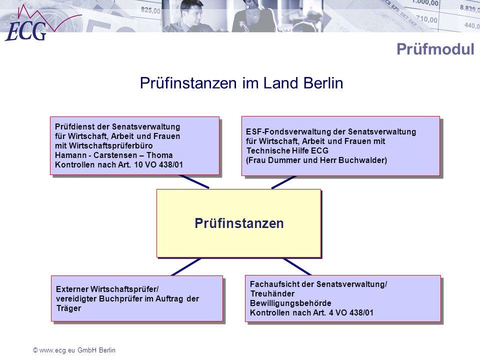 © www.ecg.eu GmbH Berlin Prüfmodul Prüfinstanzen Prüfdienst der Senatsverwaltung für Wirtschaft, Arbeit und Frauen mit Wirtschaftsprüferbüro Hamann -