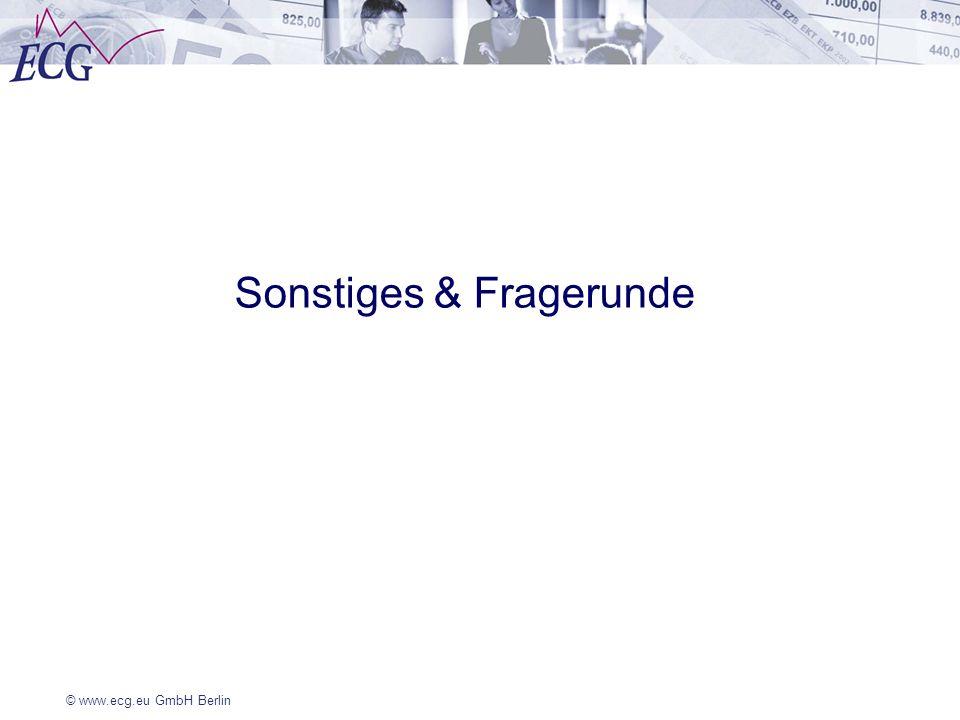 © www.ecg.eu GmbH Berlin Sonstiges & Fragerunde