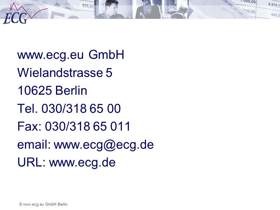 www.ecg.eu GmbH Wielandstrasse 5 10625 Berlin Tel. 030/318 65 00 Fax: 030/318 65 011 email: www.ecg@ecg.de URL: www.ecg.de