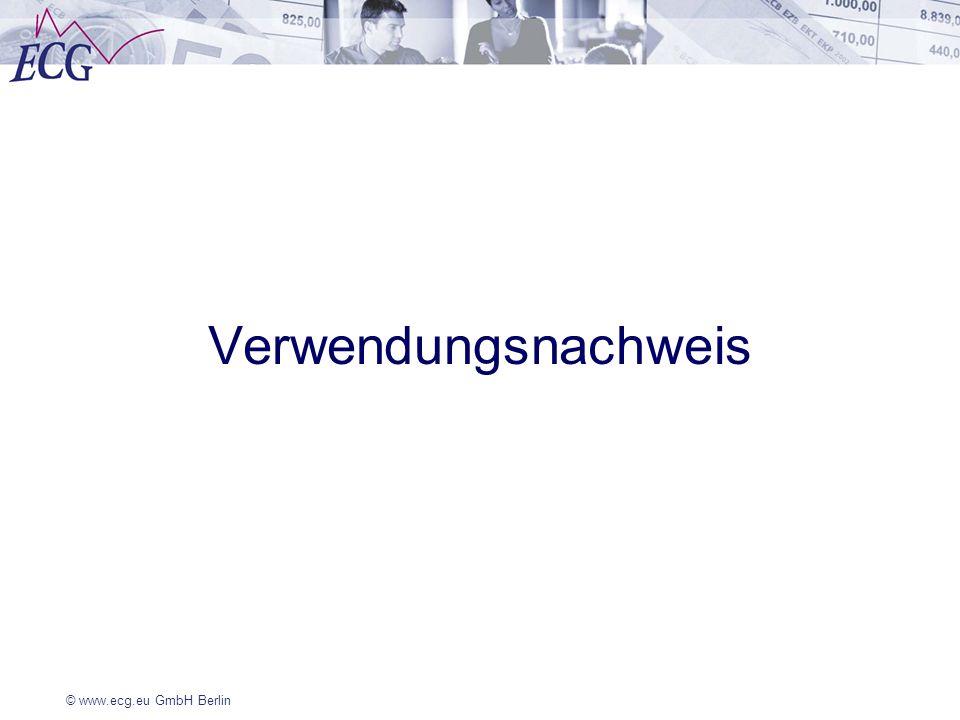 © www.ecg.eu GmbH Berlin Verwendungsnachweis