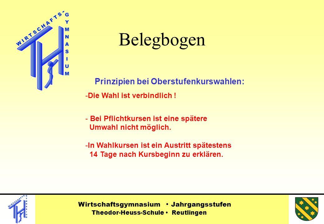 Belegbogen Wirtschaftsgymnasium Jahrgangsstufen Theodor-Heuss-Schule Reutlingen Prinzipien bei Oberstufenkurswahlen: -Die Wahl ist verbindlich .