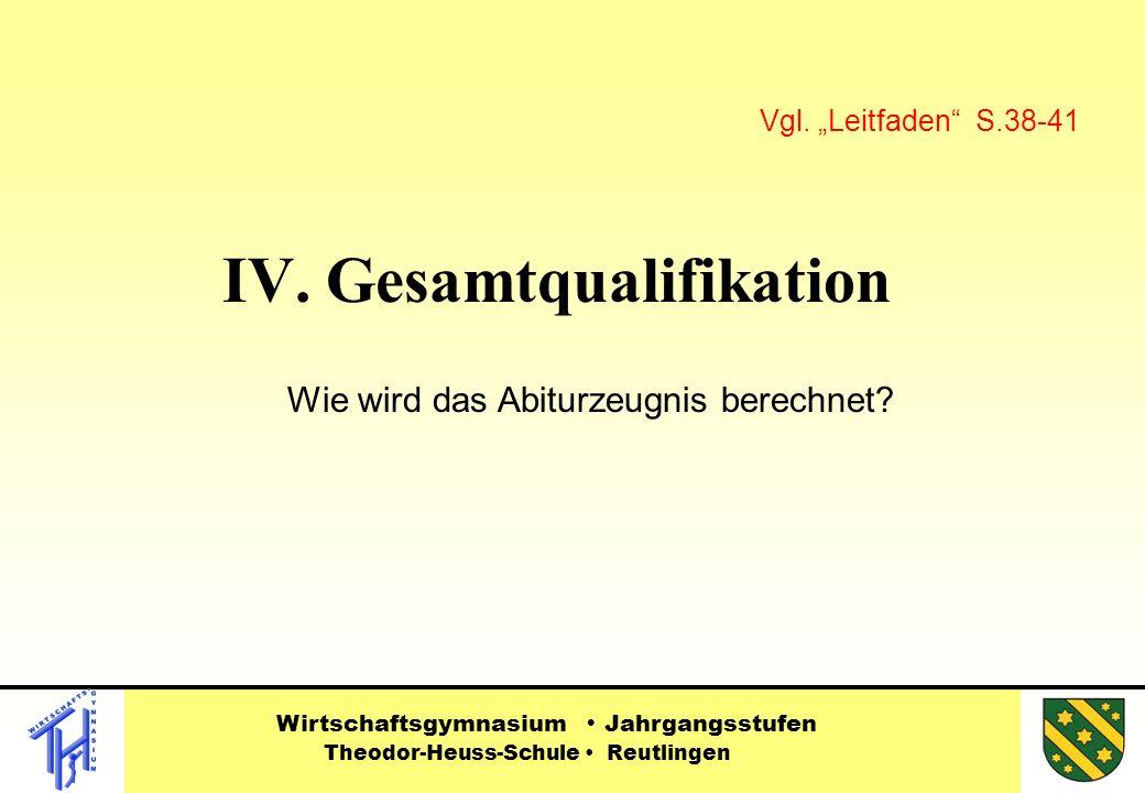 Wie wird das Abiturzeugnis berechnet.IV. Gesamtqualifikation Vgl.