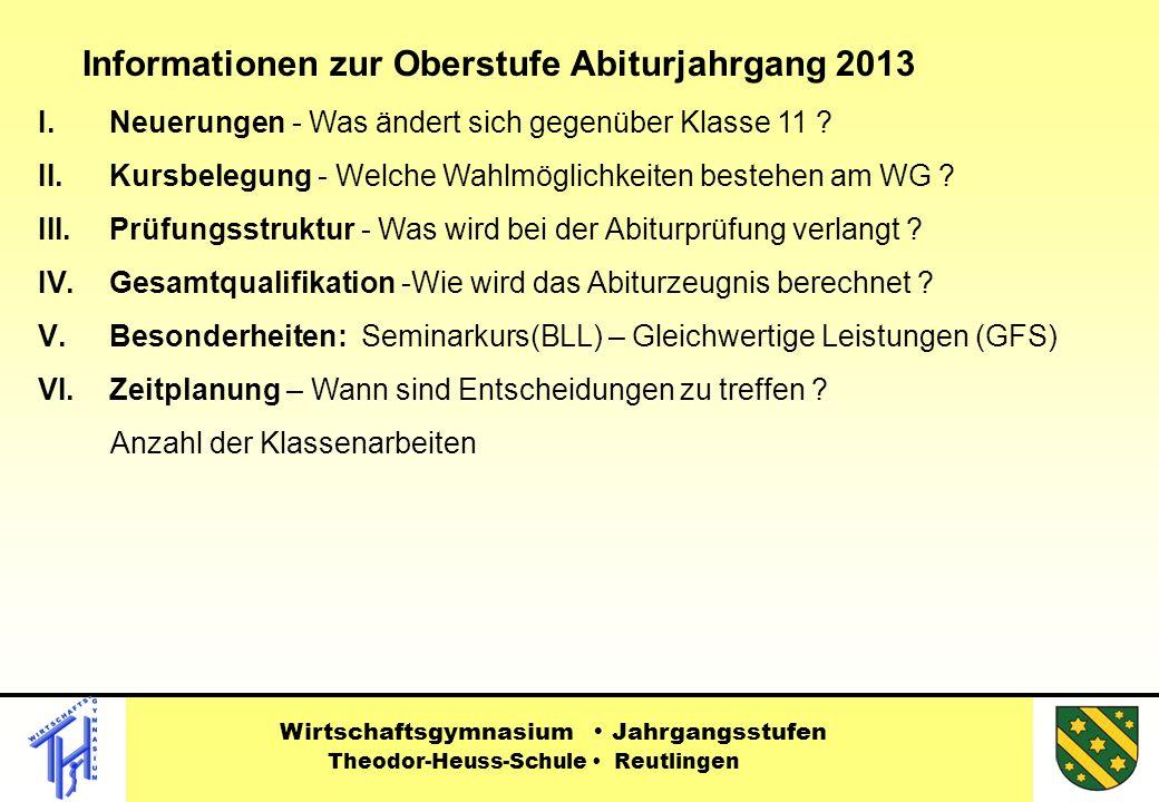 Informationen zur Oberstufe Abiturjahrgang 2013 I.Neuerungen - Was ändert sich gegenüber Klasse 11 .