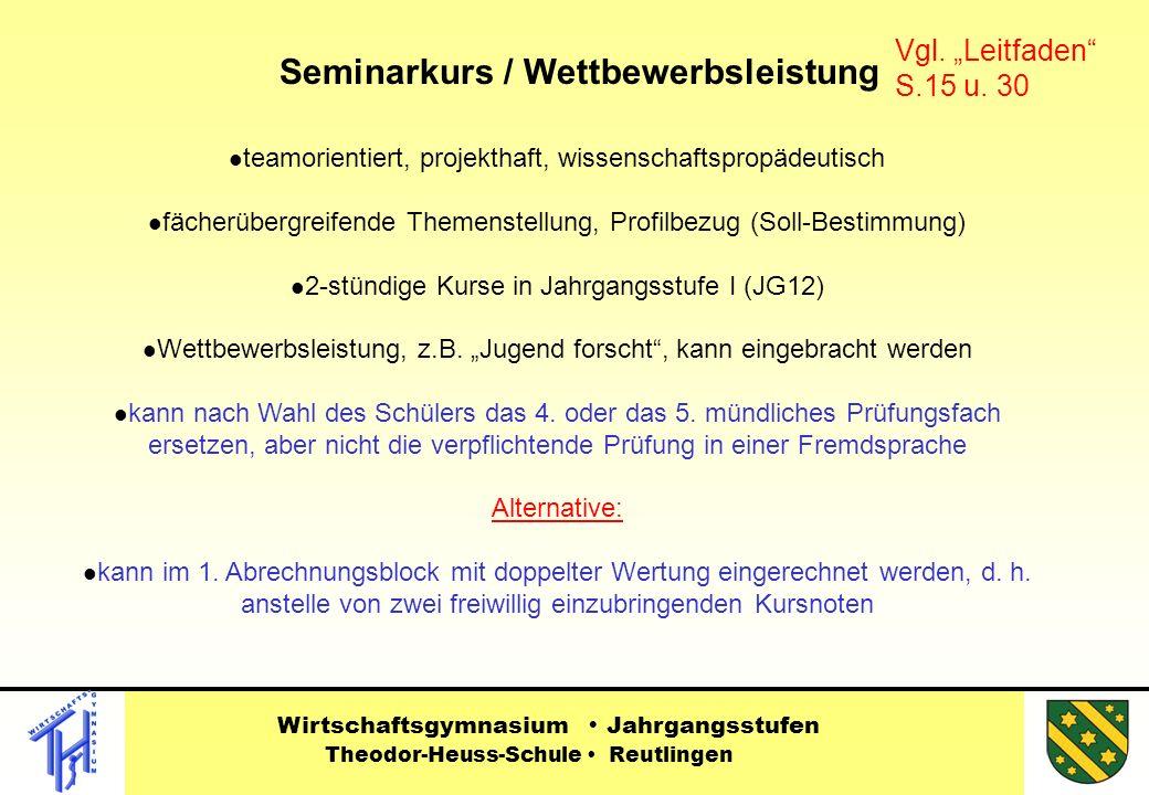 teamorientiert, projekthaft, wissenschaftspropädeutisch fächerübergreifende Themenstellung, Profilbezug (Soll-Bestimmung) 2-stündige Kurse in Jahrgangsstufe I (JG12) Wettbewerbsleistung, z.B.