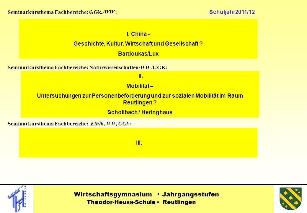 Seminarkursthema Fachbereiche: GGk./WW : Schuljahr2011/12 Seminarkursthema Fachbereiche: Naturwissenschaften/WW /GGK: Seminarkursthema Fachbereiche: Ethik, WW, GGk: II.
