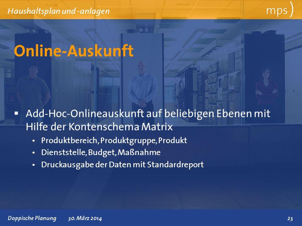 Präsentationstitel 30. März 2014 Online-Auskunft mps ) Haushaltsplan und -anlagen Add-Hoc-Onlineauskunft auf beliebigen Ebenen mit Hilfe der Kontensch