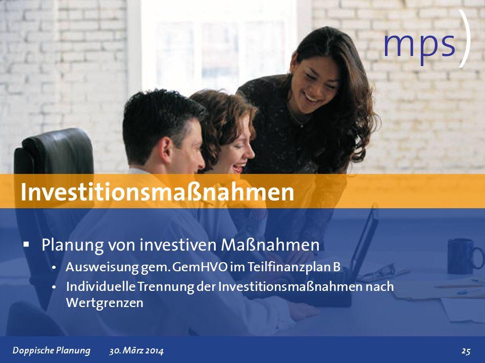 Präsentationstitel 30. März 201425 Investitionsmaßnahmen mps ) Planung von investiven Maßnahmen Ausweisung gem. GemHVO im Teilfinanzplan B Individuell