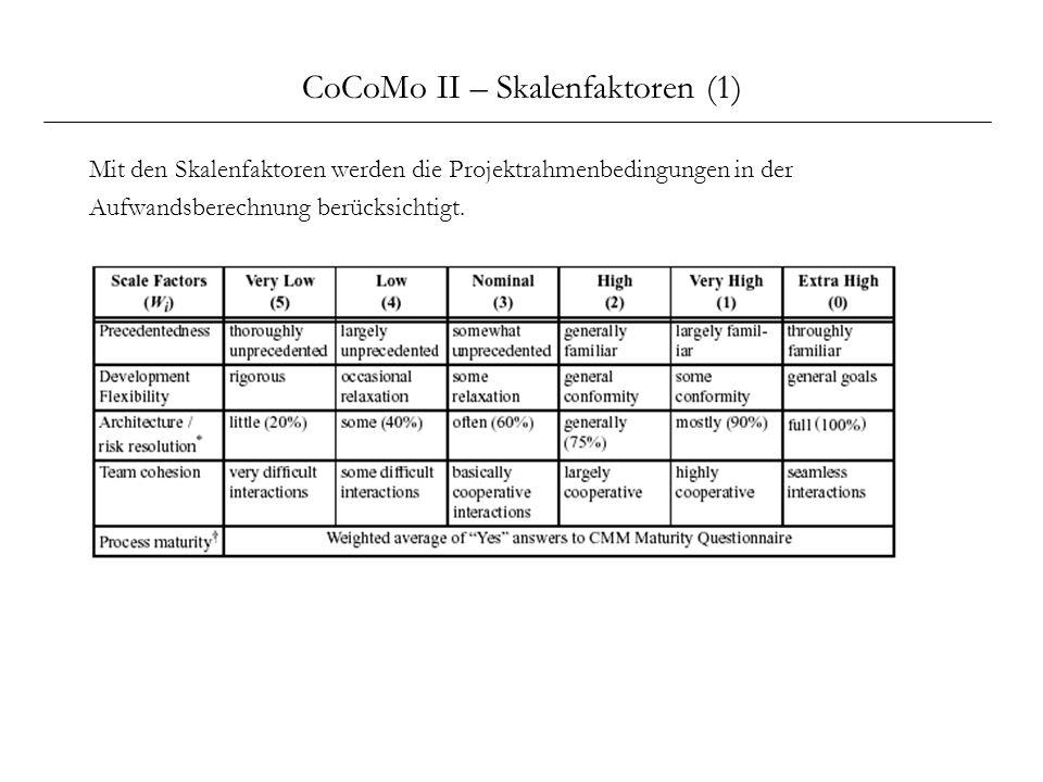 CoCoMo II – Skalenfaktoren (1) Mit den Skalenfaktoren werden die Projektrahmenbedingungen in der Aufwandsberechnung berücksichtigt.