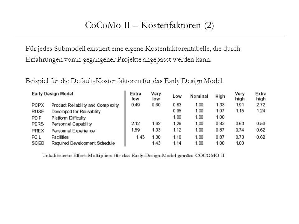 CoCoMo II – Kostenfaktoren (2) Für jedes Submodell existiert eine eigene Kostenfaktorentabelle, die durch Erfahrungen voran gegangener Projekte angepa