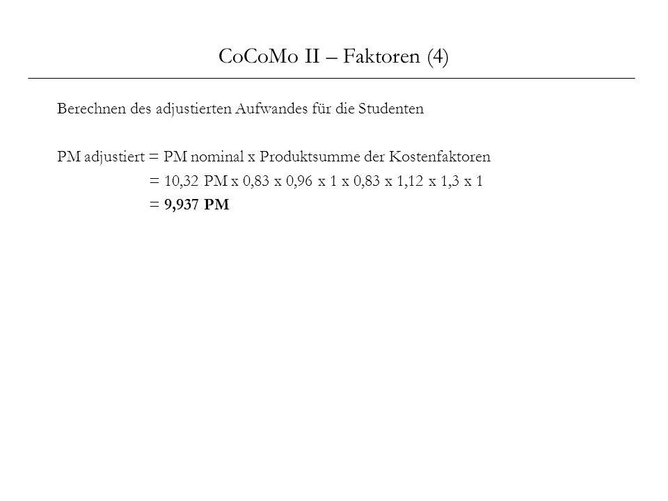 CoCoMo II – Faktoren (4) Berechnen des adjustierten Aufwandes für die Studenten PM adjustiert = PM nominal x Produktsumme der Kostenfaktoren = 10,32 P
