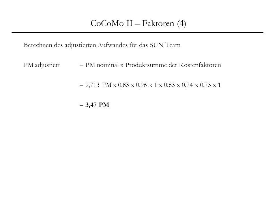 CoCoMo II – Faktoren (4) Berechnen des adjustierten Aufwandes für das SUN Team PM adjustiert= PM nominal x Produktsumme der Kostenfaktoren = 9,713 PM