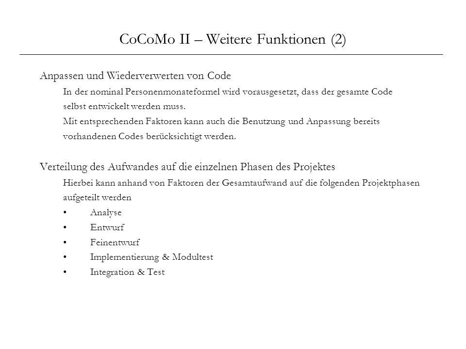 CoCoMo II – Weitere Funktionen (2) Anpassen und Wiederverwerten von Code In der nominal Personenmonateformel wird vorausgesetzt, dass der gesamte Code