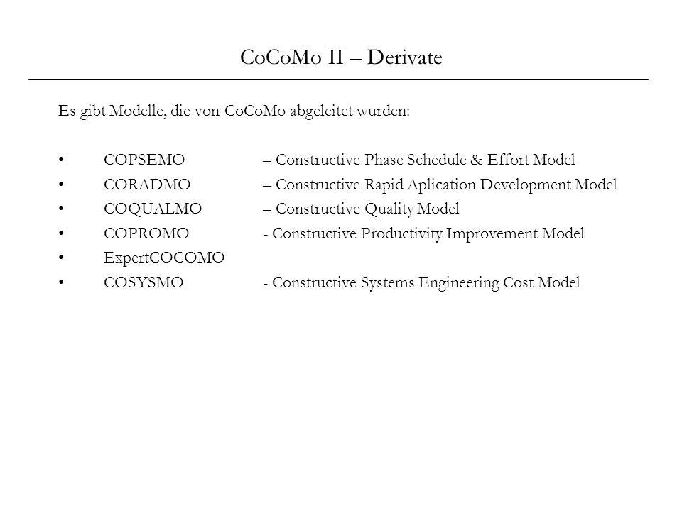 CoCoMo II – Derivate Es gibt Modelle, die von CoCoMo abgeleitet wurden: COPSEMO – Constructive Phase Schedule & Effort Model CORADMO – Constructive Ra