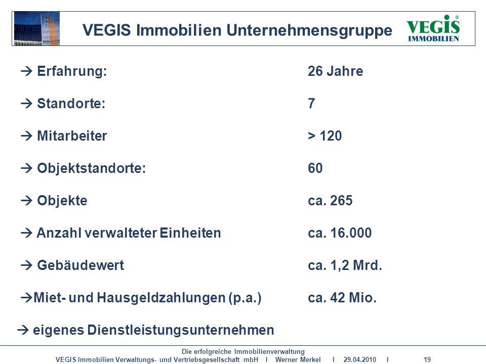 Die erfolgreiche Immobilienverwaltung VEGIS Immobilien Verwaltungs- und Vertriebsgesellschaft mbH I Werner Merkel I 29.04.2010 I 19 VEGIS Immobilien U