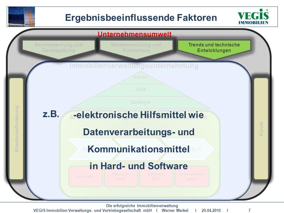 Die erfolgreiche Immobilienverwaltung VEGIS Immobilien Verwaltungs- und Vertriebsgesellschaft mbH I Werner Merkel I 29.04.2010 I 7 Unternehmensumwelt