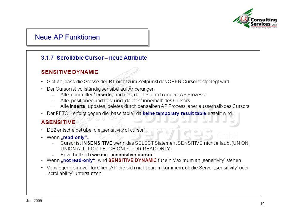 10 Jan 2005 3. Neue AP Funktionen 3.1.7 Scrollable Cursor – neue Attribute SENSITIVE DYNAMIC Gibt an, dass die Grösse der RT nicht zum Zeitpunkt des O