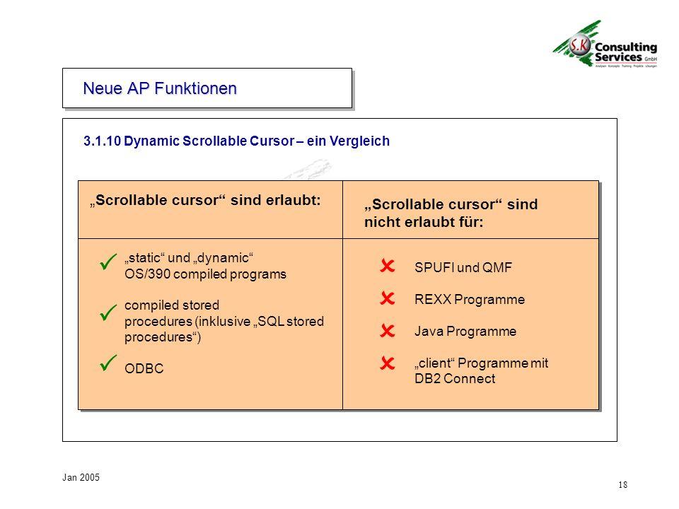 18 Jan 2005 Scrollable cursor sind erlaubt: SPUFI und QMF REXX Programme Java Programme client Programme mit DB2 Connect static und dynamic OS/390 com