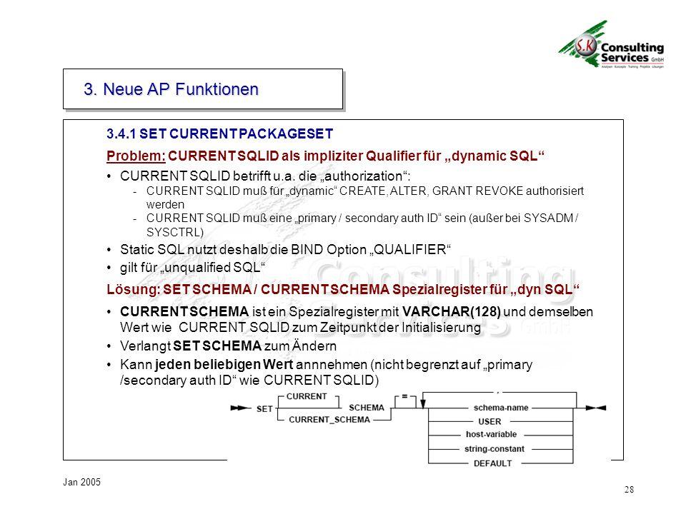 28 Jan 2005 3.4.1 SET CURRENT PACKAGESET 3.
