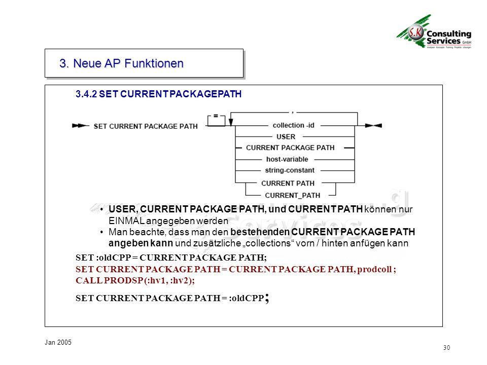 30 Jan 2005 3.4.2 SET CURRENT PACKAGEPATH 3.