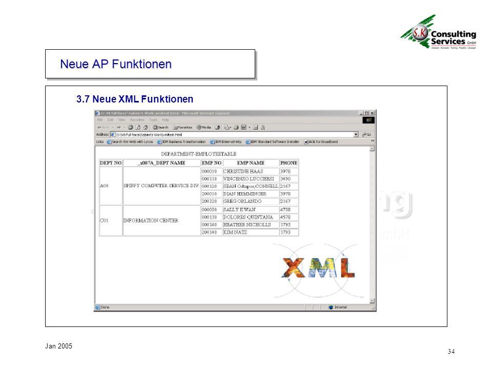 34 Jan 2005 3.7 Neue XML Funktionen Neue AP Funktionen