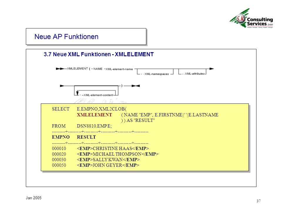 37 Jan 2005 SELECT E.EMPNO,XML2CLOB( XMLELEMENT ( NAME EMP , E.FIRSTNME|| ||E.LASTNAME ) ) AS RESULT FROM DSN8810.EMP E; ---------+---------+---------+---------+---------+--------- EMPNO RESULT ---------+---------+---------+---------+---------+--------- 000010 CHRISTINE HAAS 000020 MICHAEL THOMPSON 000030 SALLY KWAN 000050 JOHN GEYER SELECT E.EMPNO,XML2CLOB( XMLELEMENT ( NAME EMP , E.FIRSTNME|| ||E.LASTNAME ) ) AS RESULT FROM DSN8810.EMP E; ---------+---------+---------+---------+---------+--------- EMPNO RESULT ---------+---------+---------+---------+---------+--------- 000010 CHRISTINE HAAS 000020 MICHAEL THOMPSON 000030 SALLY KWAN 000050 JOHN GEYER 3.7 Neue XML Funktionen - XMLELEMENT Neue AP Funktionen