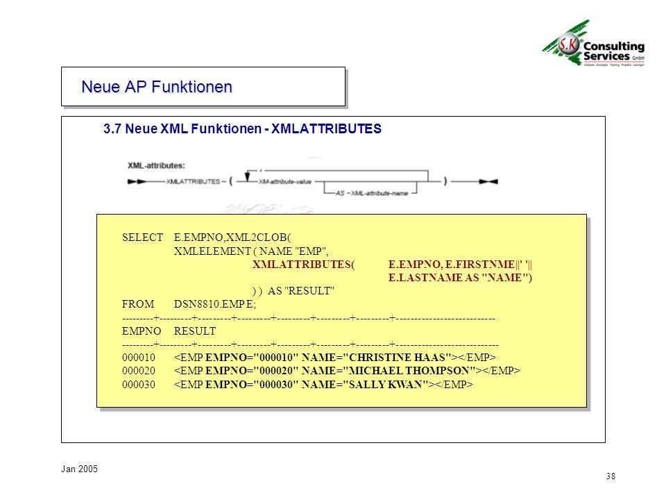 38 Jan 2005 3.7 Neue XML Funktionen - XMLATTRIBUTES Neue AP Funktionen SELECT E.EMPNO,XML2CLOB( XMLELEMENT ( NAME EMP , XMLATTRIBUTES( E.EMPNO, E.FIRSTNME|| || E.LASTNAME AS NAME ) ) ) AS RESULT FROM DSN8810.EMP E; ---------+---------+---------+---------+---------+---------+---------+--------------------------- EMPNO RESULT ---------+---------+---------+---------+---------+---------+---------+---------------------------- 000010 000020 000030