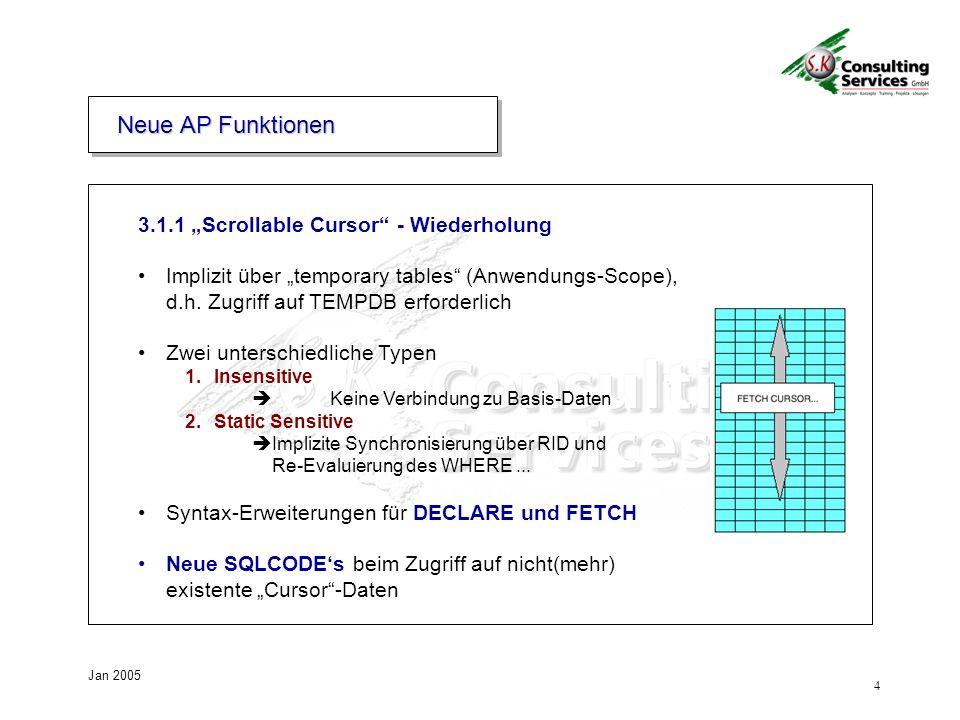 4 Jan 2005 3.1.1 Scrollable Cursor - Wiederholung Implizit über temporary tables (Anwendungs-Scope), d.h. Zugriff auf TEMPDB erforderlich Zwei untersc