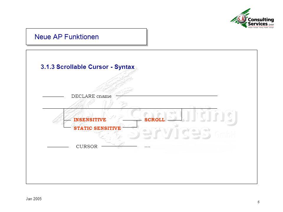 6 Jan 2005 3.1.3 Scrollable Cursor - Syntax DECLARE cname INSENSITIVE STATIC SENSITIVE SCROLL CURSOR....