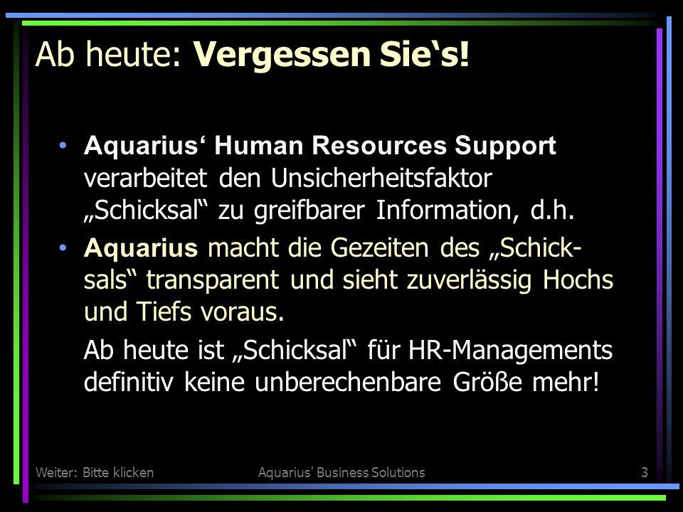 Weiter: Bitte klickenAquarius Business Solutions3 Ab heute: Vergessen Sies.