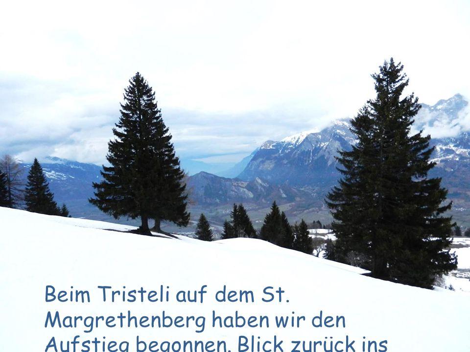 Beim Tristeli auf dem St. Margrethenberg haben wir den Aufstieg begonnen. Blick zurück ins Rheintal