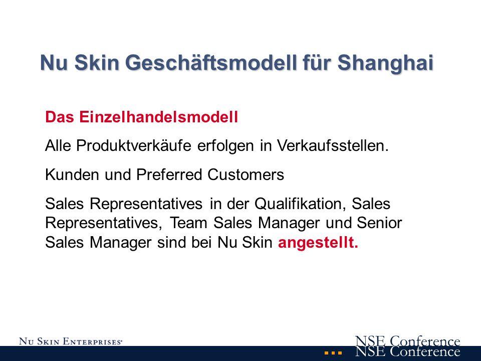 NSE Conference Nu Skin Geschäftsmodell für Shanghai Das Einzelhandelsmodell Alle Produktverkäufe erfolgen in Verkaufsstellen.