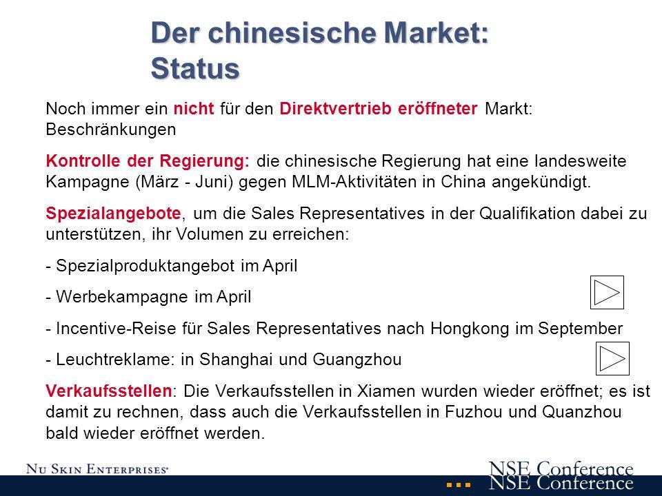 Noch immer ein nicht für den Direktvertrieb eröffneter Markt: Beschränkungen Kontrolle der Regierung: die chinesische Regierung hat eine landesweite Kampagne (März - Juni) gegen MLM-Aktivitäten in China angekündigt.