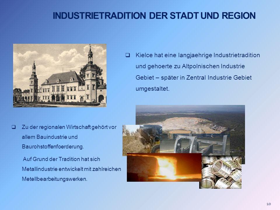 INDUSTRIETRADITION DER STADT UND REGION Kielce hat eine langjaehrige Industrietradition und gehoerte zu Altpolnischen Industrie Gebiet – später in Zen